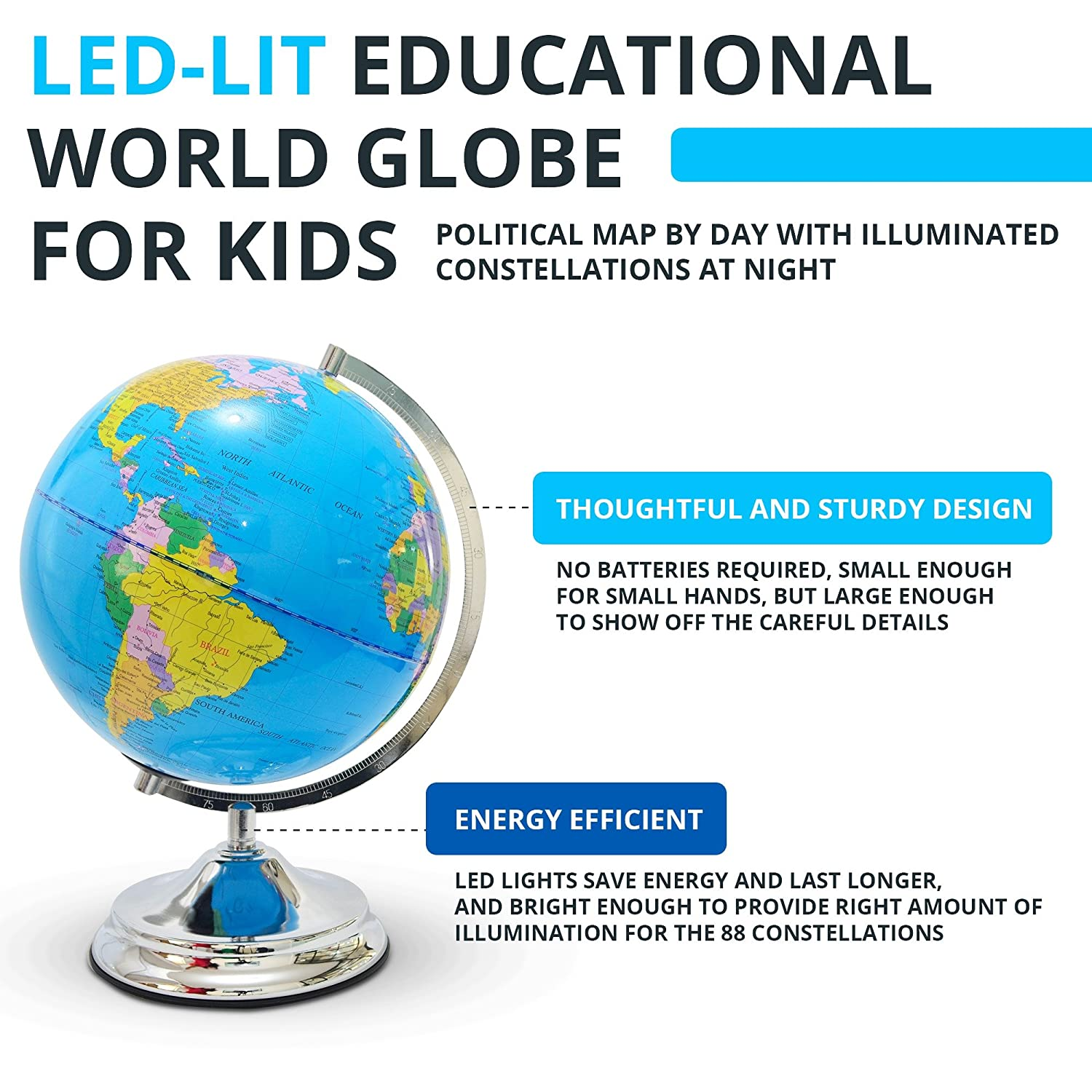 Interactive globe for kids day view world map and illuminated interactive globe for kids day view world map and illuminated constellation at night includes power cord amazon office products gumiabroncs Image collections