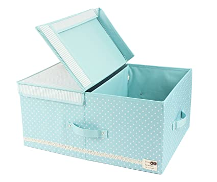 JJ POWER Collapsible Clothes Storage Box, Under Bed Organizer Drawer (Mint  Green Dot)