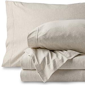 Bare Home Jersey Sheet Set, Ultra Soft, 100% Cotton - Breathable - Deep Pocket (Twin, Oatmeal - Mélange)