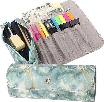 MoKo Estuche Enrollable/Bolsa de Maquillaje, Organizador de PU de Lápiz con 1 Bolsa de Lápiz Extraíble, 5 Ranuras, 1 Bolsillo con Cremallera & Hebilla Magnética para Oficina, Escuela, Hogar - Verde: Amazon.es: