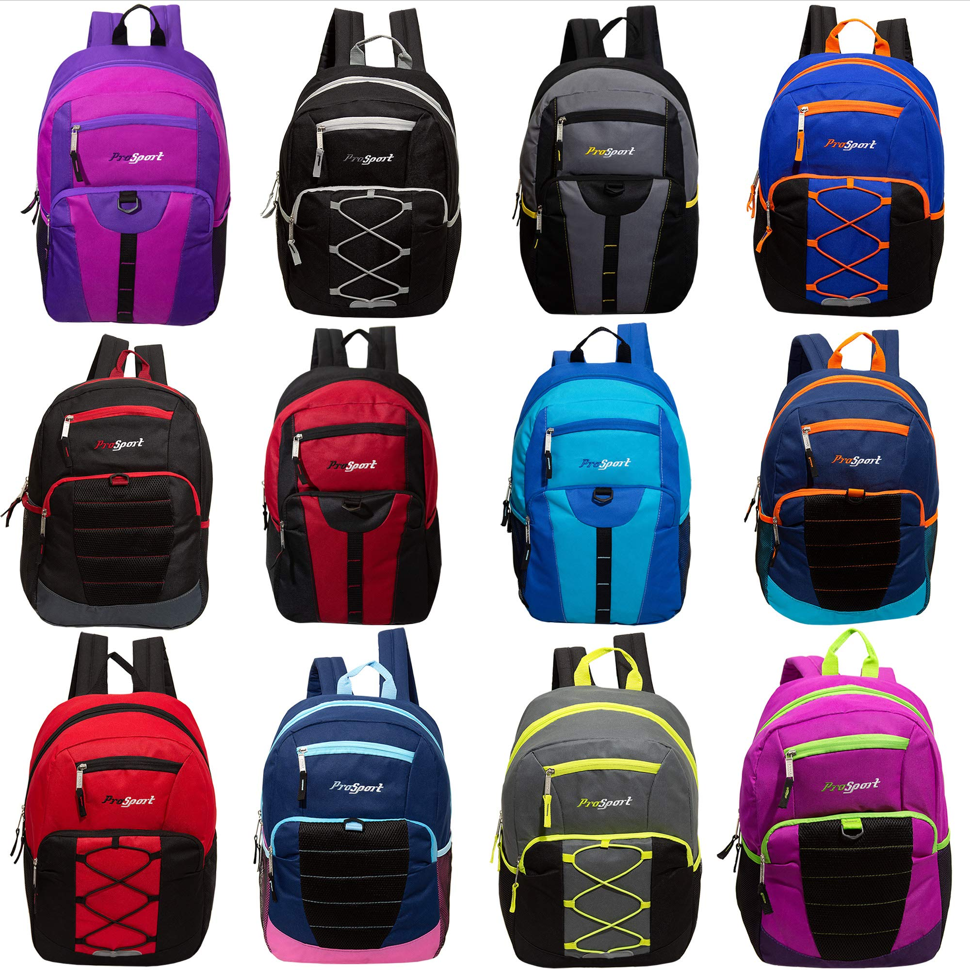 17'' Mixed Bulk Backpack Assortment in 12 Assorted Styles - Wholesale Case of 24 Bookbags by prosport
