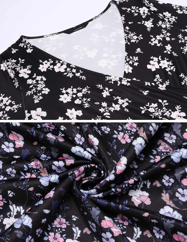 Chigant Damen Blumen Kleid Elegant V Ausschnitt Wickelkleid Knielang Langarm Rockabilly Abendkleider