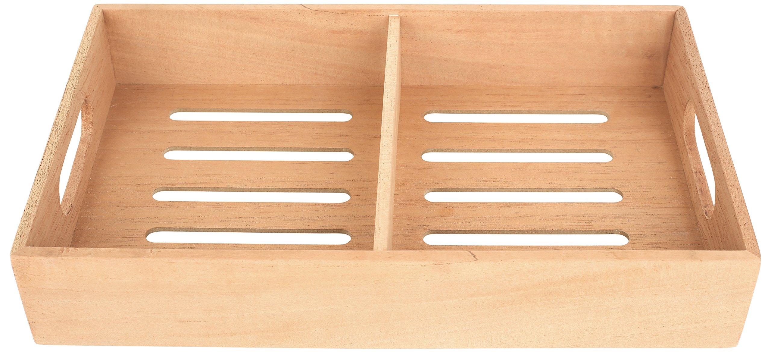 Mantello Solid Spanish Cedar Cigar Tray, Adjustable Divider, Fits Large Humidors, 12.5''x7.5''x2.25''