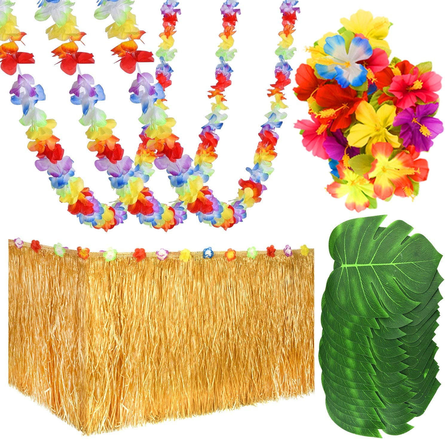 KUUQA 65 PCS Luau Tropical Hawaiian Party Decoration Set Including 9 ft Luau Table Grass Skirt, 4 Pack Hawaiian Flower Lei Garland, 30 Hibiscus Flowers and 30 Artificial Tropical Leaves