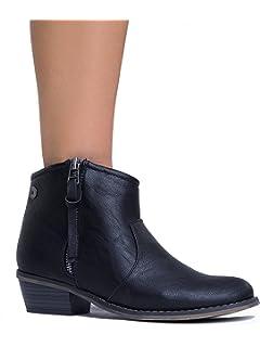 DORADO-11 Western Inspired Zip Up Ankle Boot Bootie Black 10