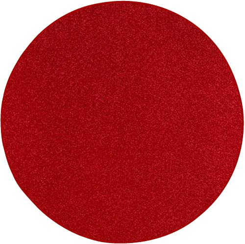 Home Cool Solid Colors Wind Dancer Collection Area Rugs Red – 8 Round
