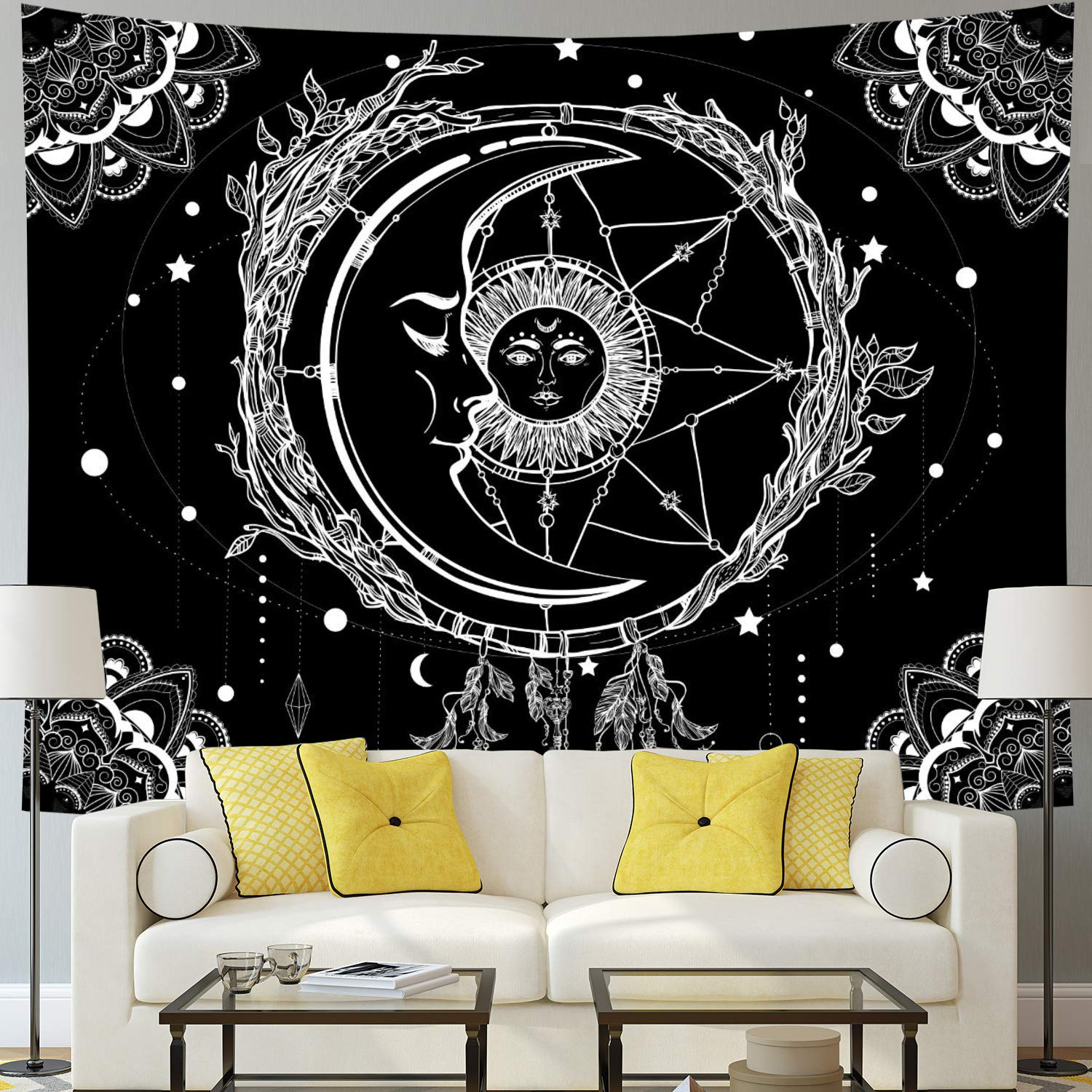 "Moon and Sun Tapestry Psychedelic Bohemian Mandala Wall Tapestry Black and White Indian Hippy Celestial Tapestry Starry Dreamcatcher Tapestry Wall Hanging for Bedroom Living Room Dorm(W59.1"" × H51.2"")"