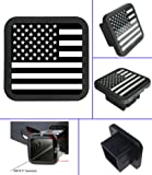 "USA US American Flag Trailer Hitch Cover tube Plug Insert (Fits 2"" Receivers) (Black and white)"