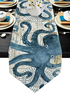 Blue Watercolor Cotton Linen Table Runner Dresser Scarves Octopus Ocean Animal Nautical Themed Retro Non-Slip Table Settings Decor for Farmhouse Kitchen Home Dining,Holiday Outdoor 13x90 inch Long