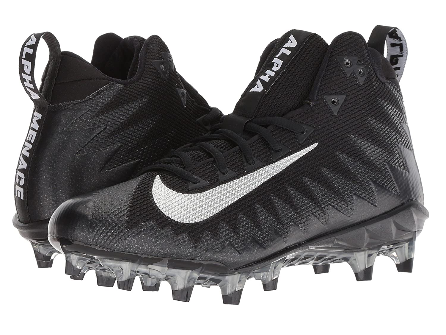 [NIKE(ナイキ)] メンズフットボールアメフトシューズ靴 Alpha Menace Pro Mid Black/Metallic Silver/Black 10.5 (28.5cm) D Medium B07D8LSXPL