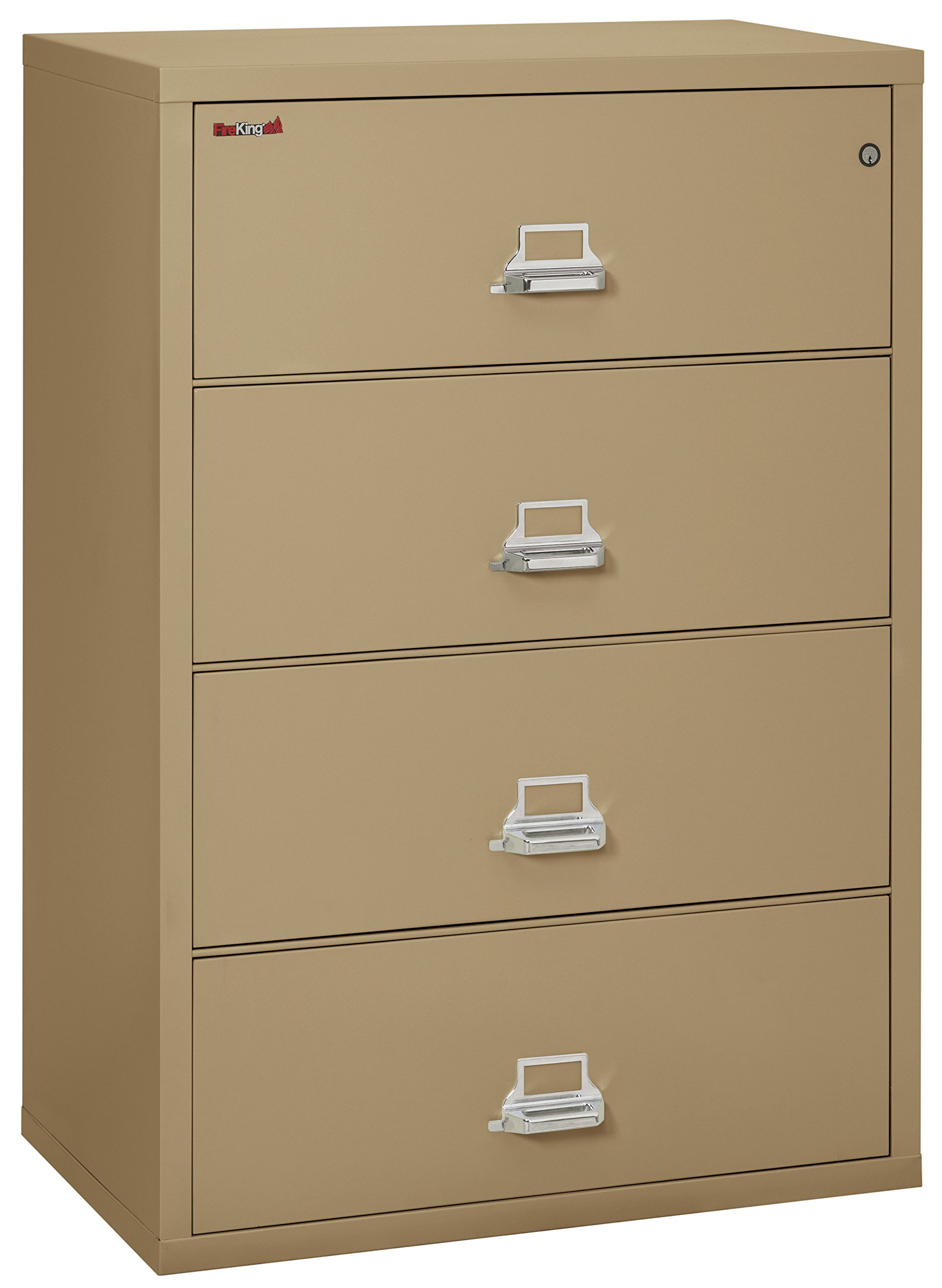 FireKing Fireproof Lateral File Cabinet (4 Drawers, Impact Resistant, Water Resistant), 38'' W x 22'' D, Sand, Made in USA by FireKing