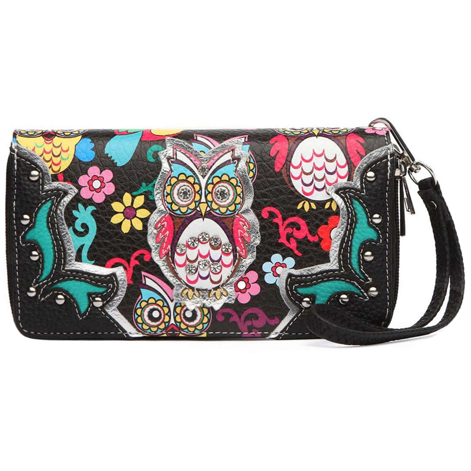 Colorful Owl Spring Western Style Fashion Clutch Purse Women Wristlets Wallet (Black)