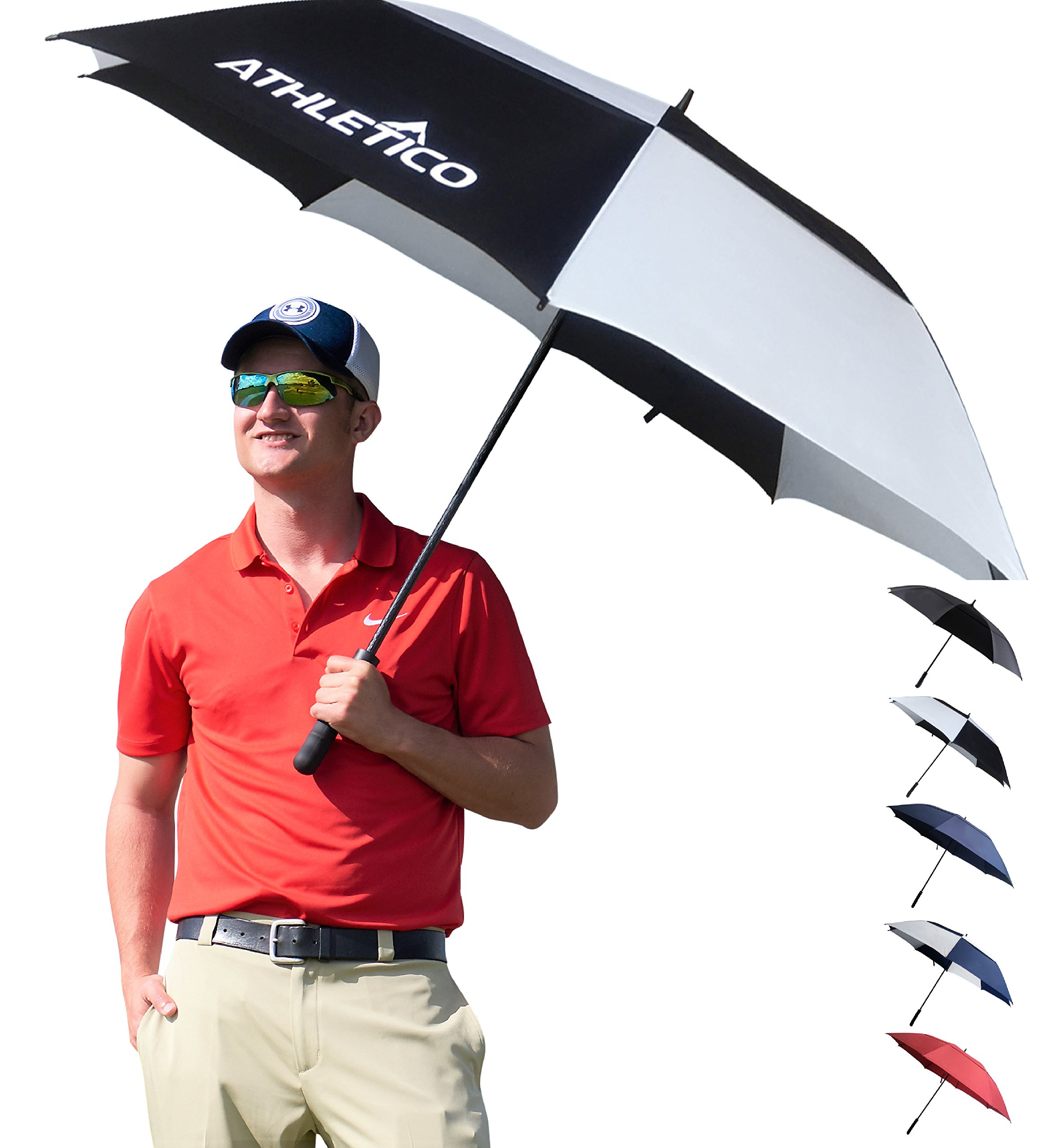 Athletico 68 inch Automatic Open Golf Umbrella - Extra Large Double Canopy Umbrella is Windproof and Waterproof - Features Ergonomic Rubber Handle (Black/White, 68 inch)