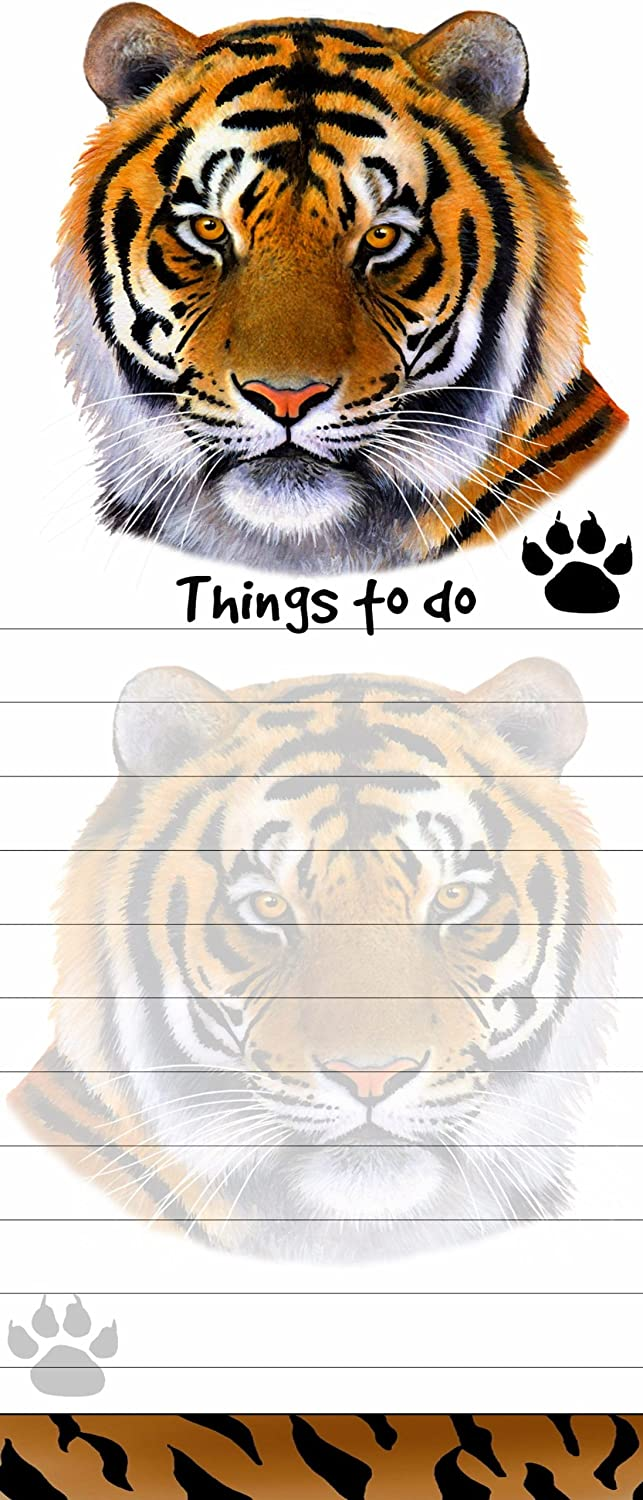 """""""Tiger Magnetic List Pads"""" Uniquely Shaped Sticky Notepad Measures 8.5 by 3.5 Inches"""