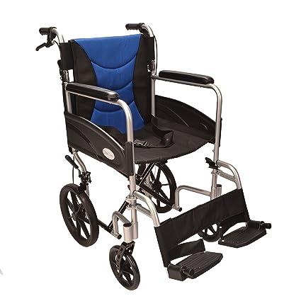 Silla de ruedas plegable, ligera y con frenos ECTR07: Amazon ...