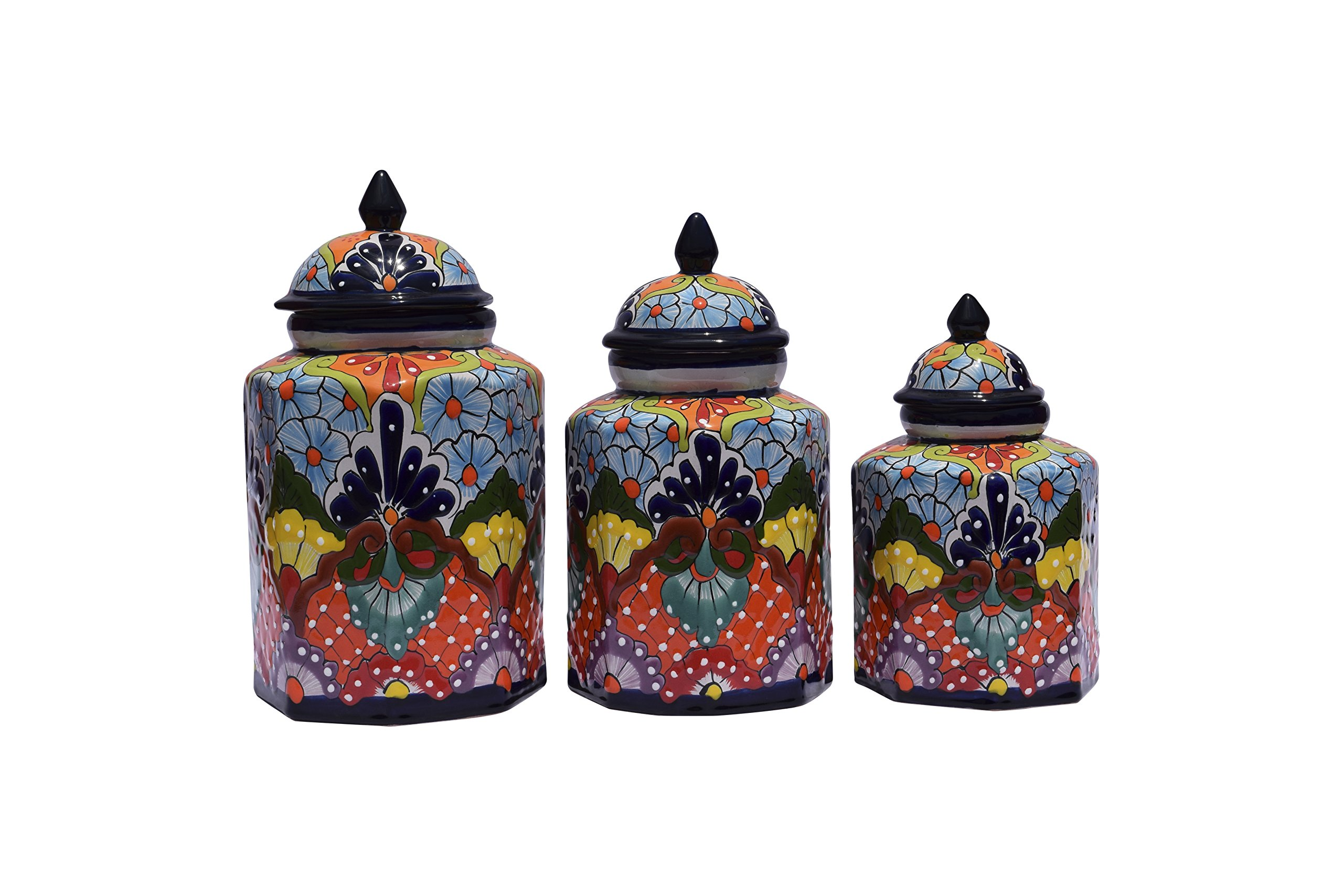 Ceramic Talavera Jar 3 Set Collection Decorative Home Kitchen Patio Garden Pottery Canisters