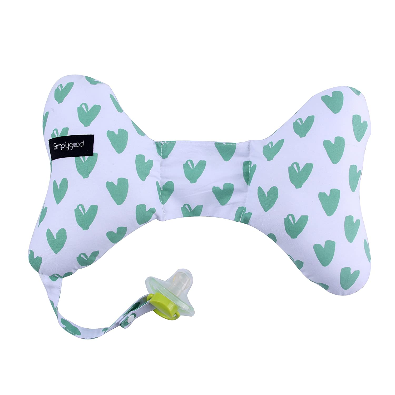 Simply Good Butterfly Baby Neck Pillow Head Support Travel Cushion and Pacifier Holder for Newborn (Pink Hearts)