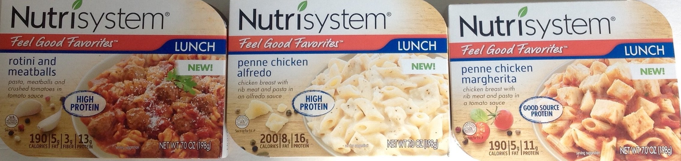 Nutrisystem Lunch Bundle 3 pack: Penne Chicken Margherita, Penne Chicken Alfredo, Rotini and Meatballs (1 Pack of Each)