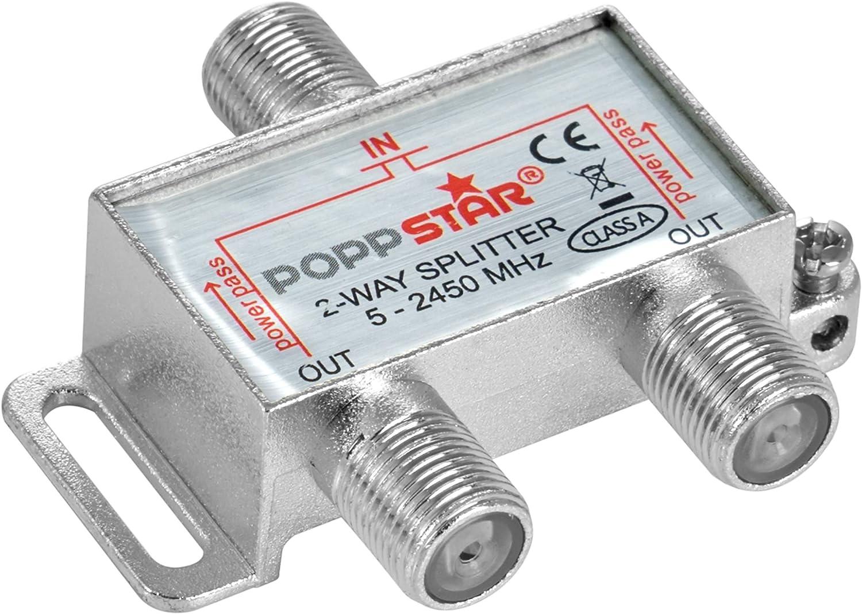 Poppstar Sat Verteiler Antennenverteiler Splitter Umschalter 2 Fach