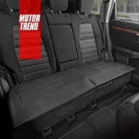 Motor Trend Black Faux Leather Rear Bench Car Seat Cover – Universal Padded Back Seat… photo