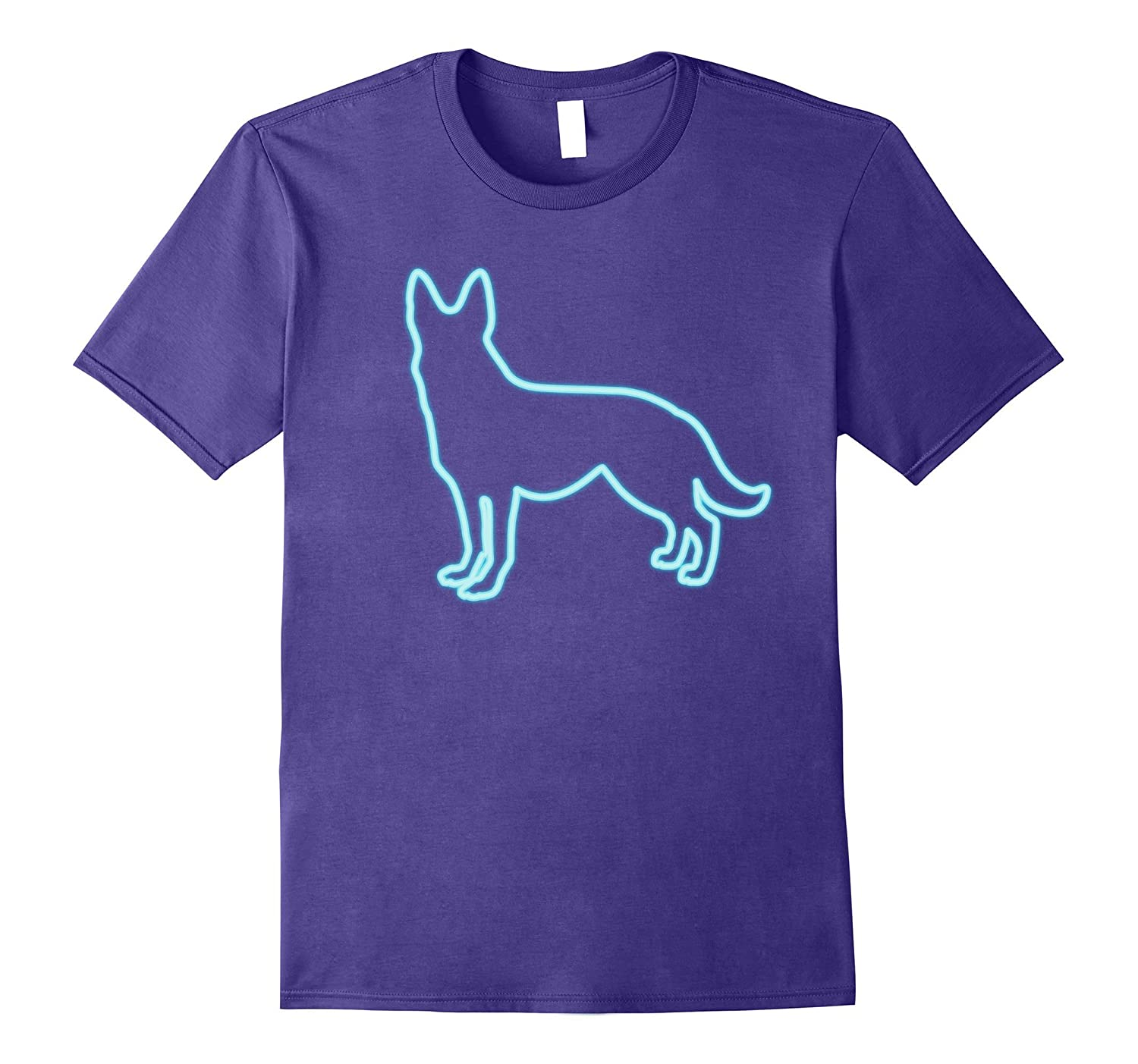 80s Retro Neon Sign German Shepherd Dog T-Shirt. 80's Gift-ANZ