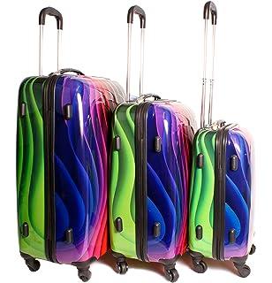2408 Union Jack Multicolour Set of 3 Suitcases - Super Lightweight ...