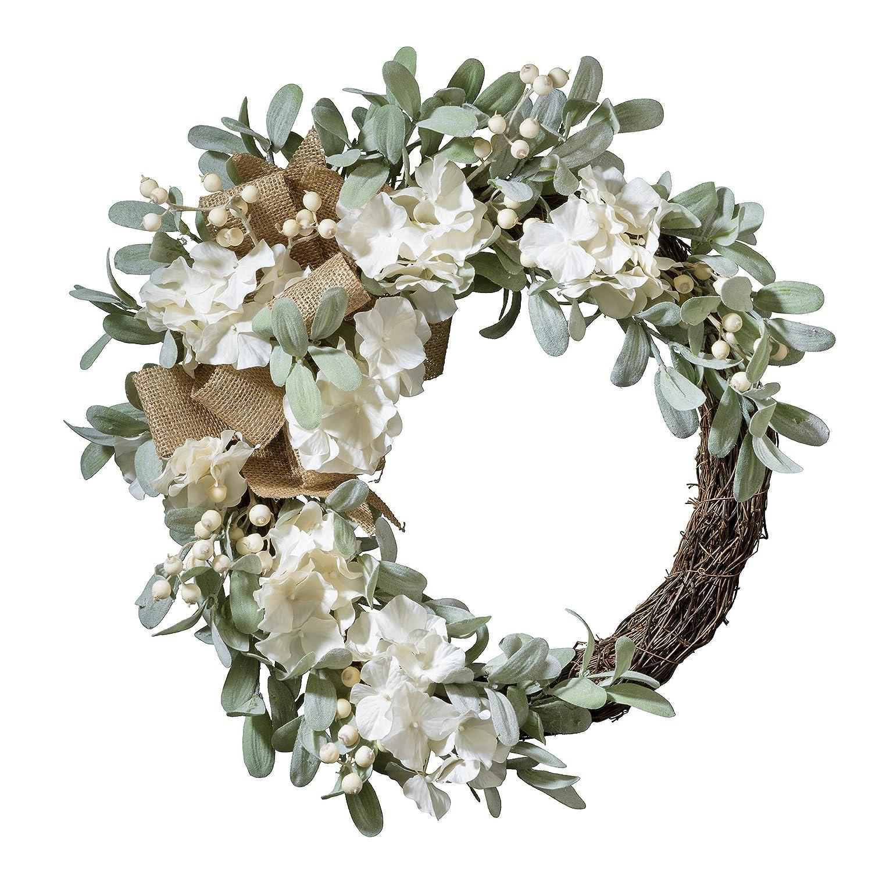 Haute Decor 22 Inch Round Spring Grapevine Hydrangea Wreath with White Berries Lamb/'s Ear /& Burlap Bow