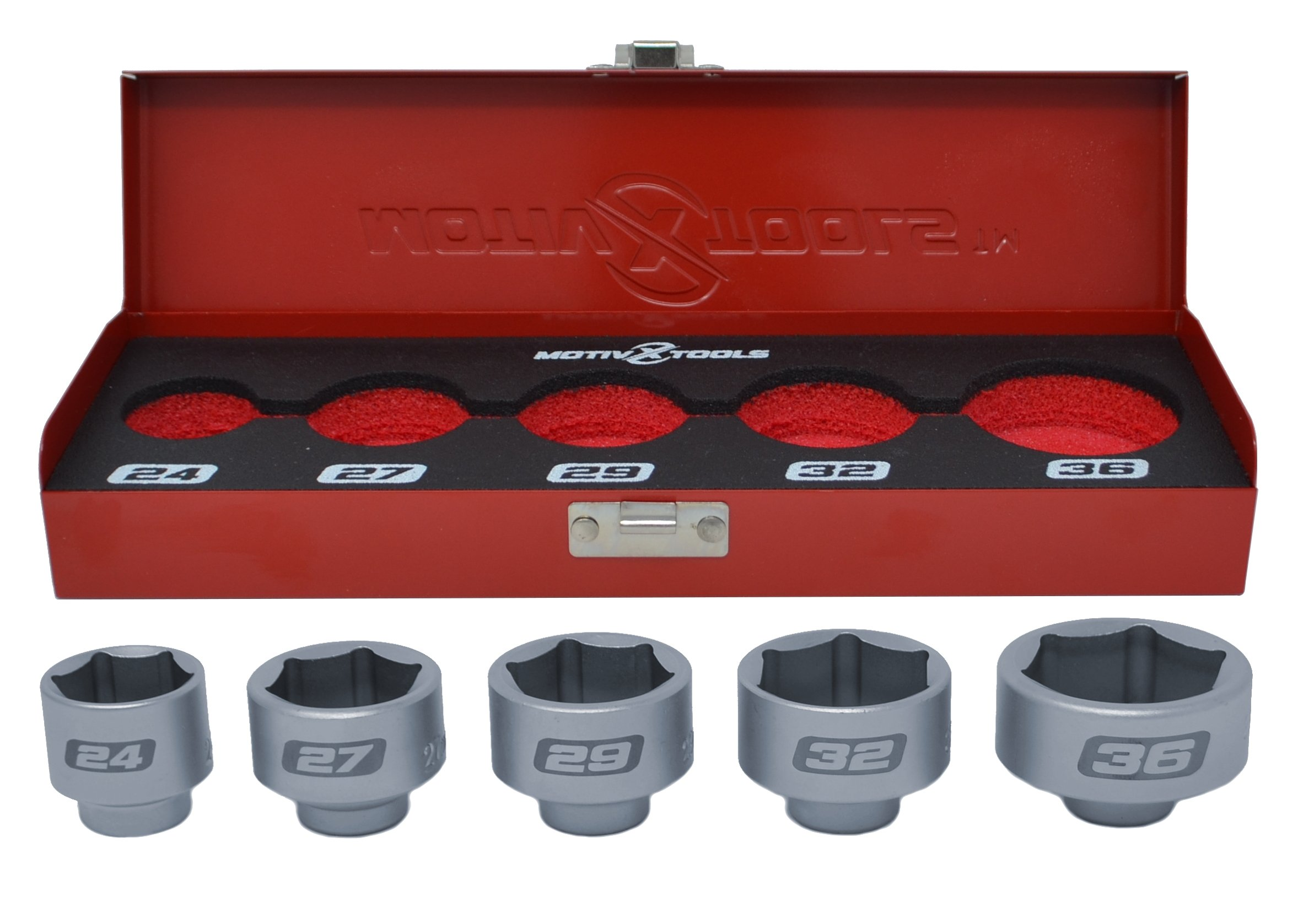 Motivx Tools 5pc Cartridge Style Oil Filter Socket Set - Includes 24mm, 27mm, 29mm, 32mm, and 36mm - In Metal Case