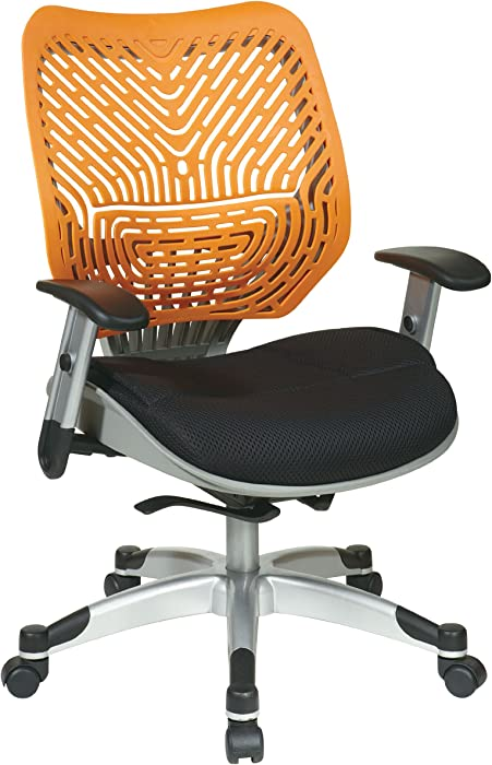 SPACE Seating REVV Self Adjusting SpaceFlex Tang Backrest Support and Padded Raven Mesh Seat with Adjustable Arms and Platinum Finish Base Managers Chair