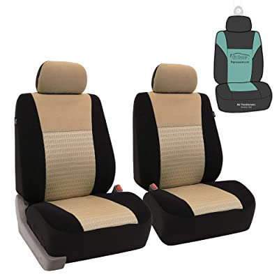 FH Group FB060102 Trendy Elegance Pair Set Bucket Car Seat Covers, (Airbag Compatible) w. Gift, Beige/Black Color-Fit Most Car, Truck, SUV, or Van: Automotive [5Bkhe1012800]