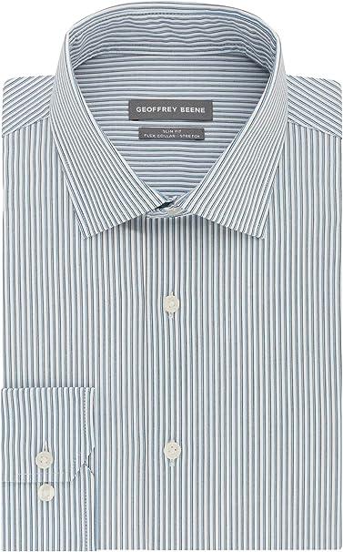 Geoffrey Beene Mens Dress Shirt Slim Fit Flex Collar Stretch Print Dress Shirt