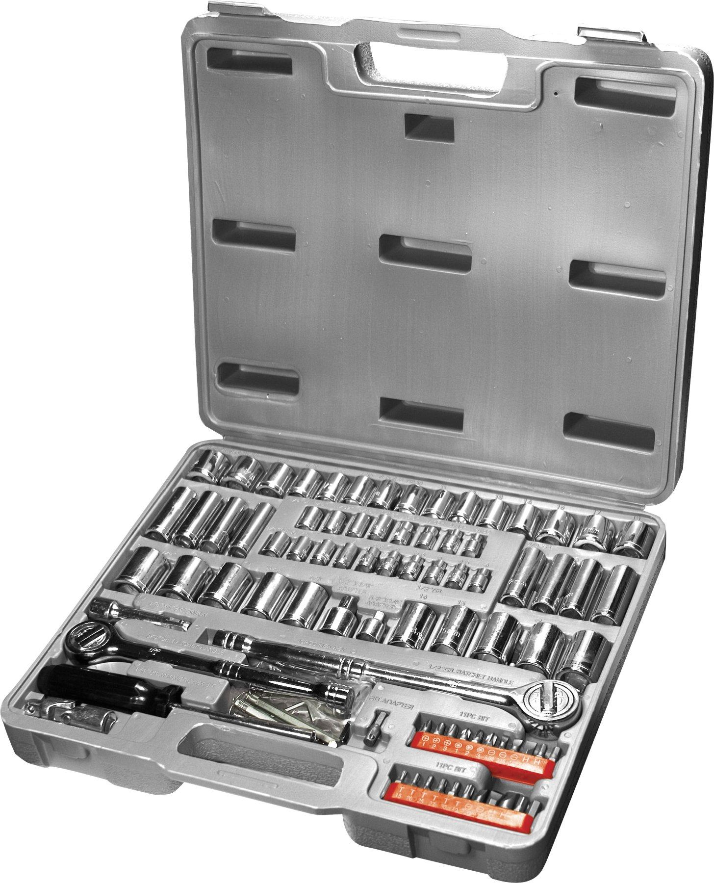 Performance Tool W1198 SAE/Metric 100-Piece Socket (1/4'', 3/8'' & 1/2'' Drive) and Bit Set