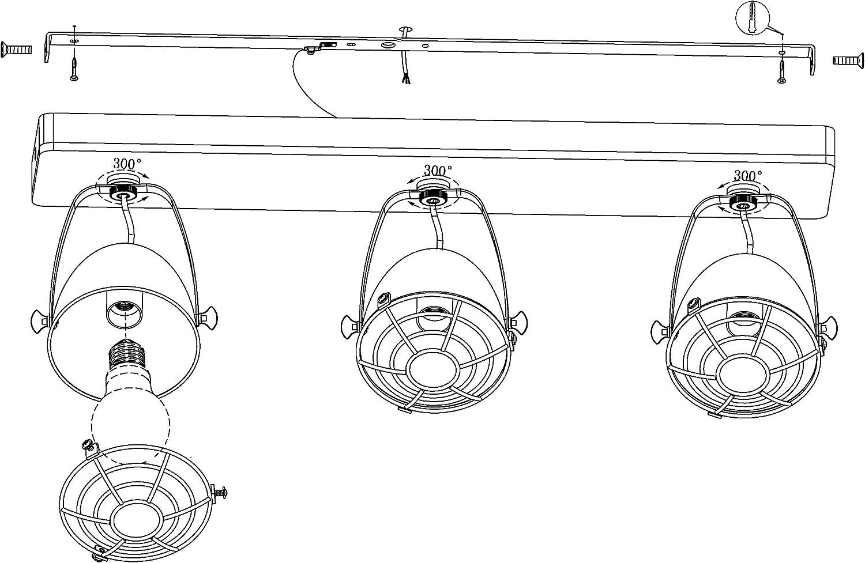 Madera E14 s , 220-240 V, Negro, Madera EGLO Gatebeck Rail lighting spot Negro Rail lighting spot, E14, 3 bombilla Punto de luz