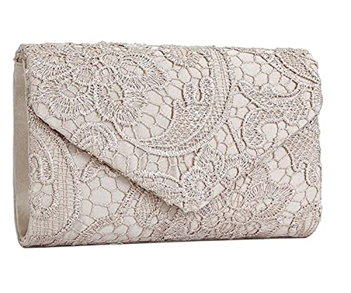 SYMALL Bolso de mano con encaje satén cartera de mano estilo elegante dulce bolso de fiesta para mujer, Beige: Amazon.es: Equipaje