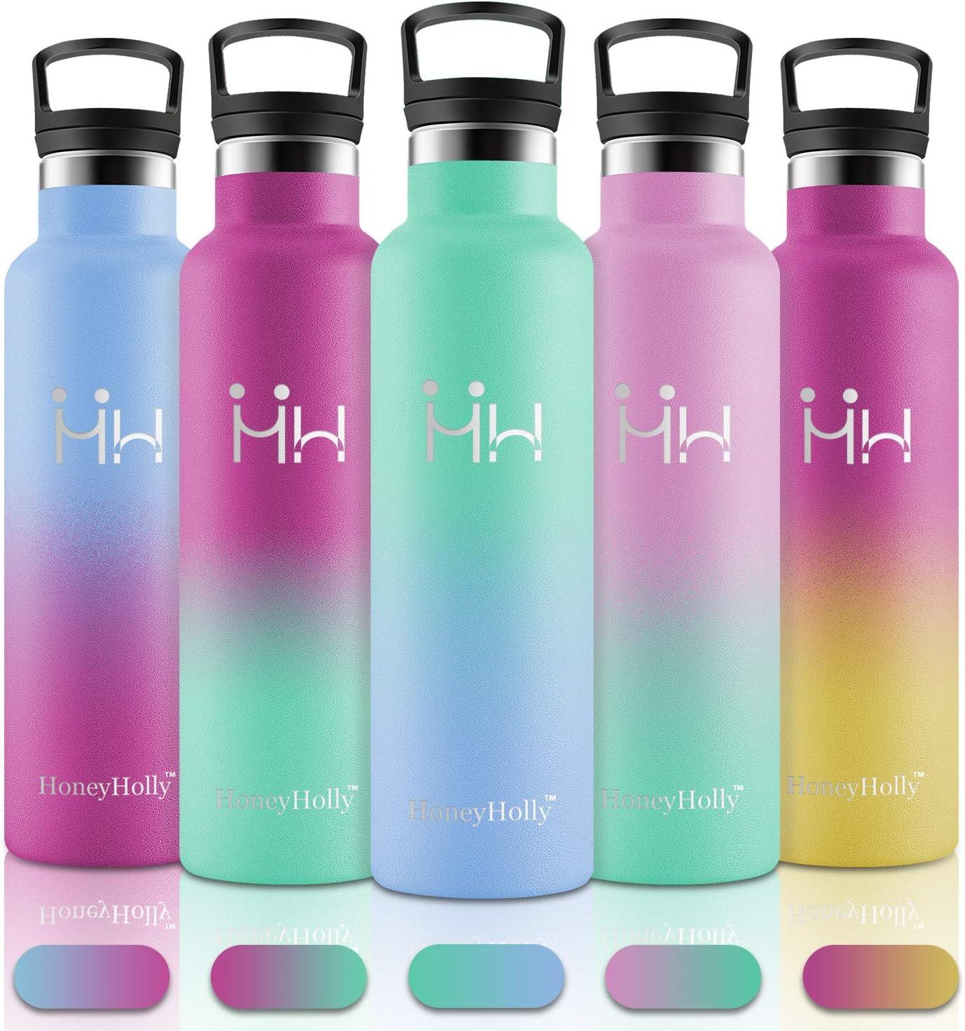 HoneyHolly Vakuum Isolierte Edelstahl Trinkflasche 350/500/600/750ml,BPA Frei Wasserflasche Auslaufsicher Thermosflasche,Thermoskanne kohlensäure geeignet für Kinder,Kleiner,Schule,Sport,Fahrrad