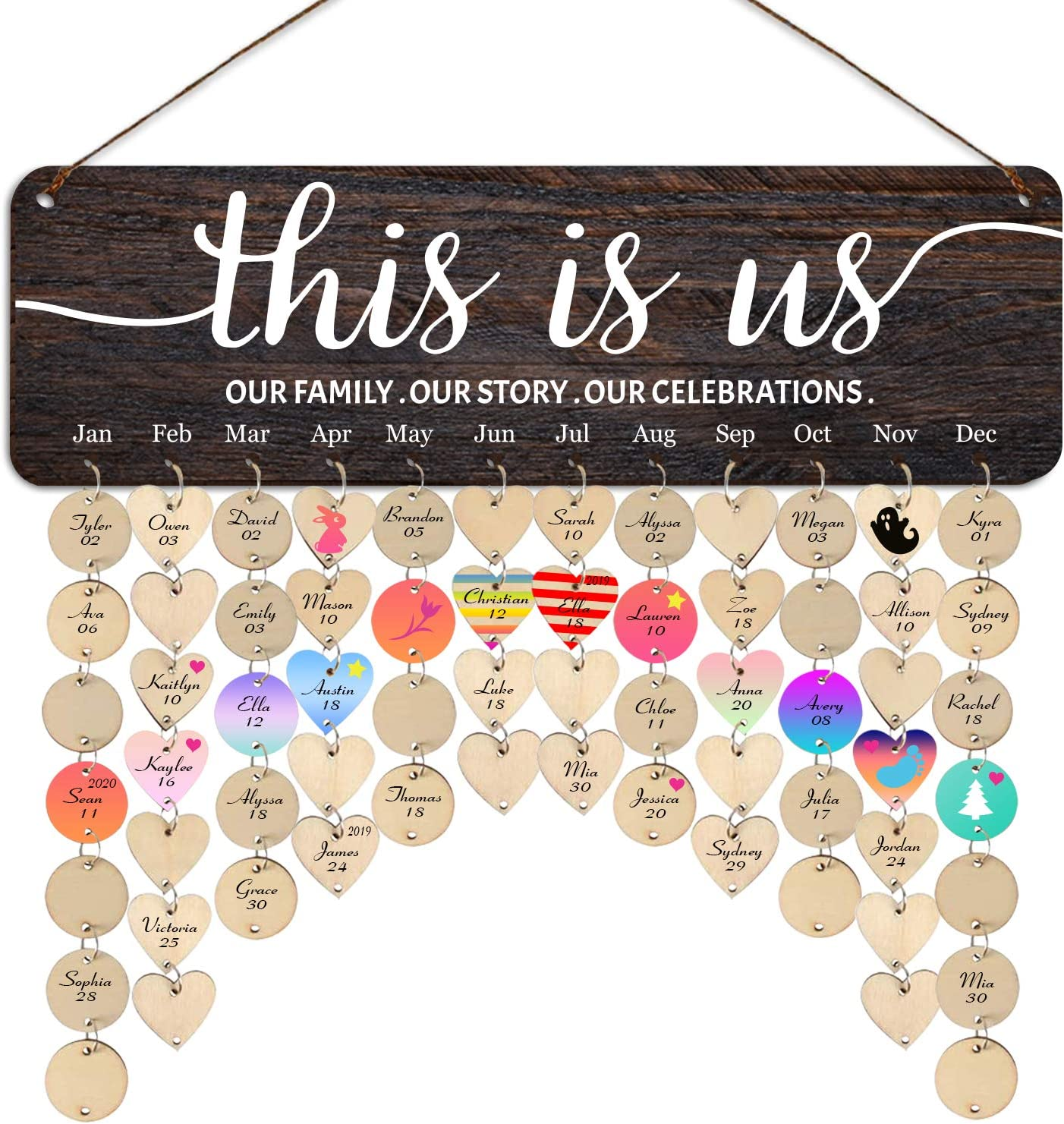 Family Birthday Board This is Us Birthday Board Wall Hanging Family Friends Birthday Reminder Calendar Birthday Gift Idea for Women Christmas Presents for Grandparents Office Classroom Decoration