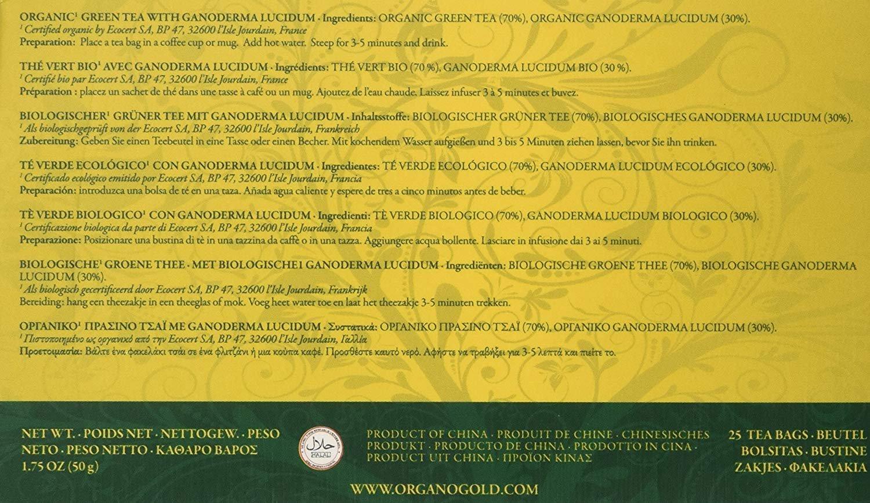 Organo Gold Green Tea with Ganoderma Lucidum (2 Box of 50 Sachets)