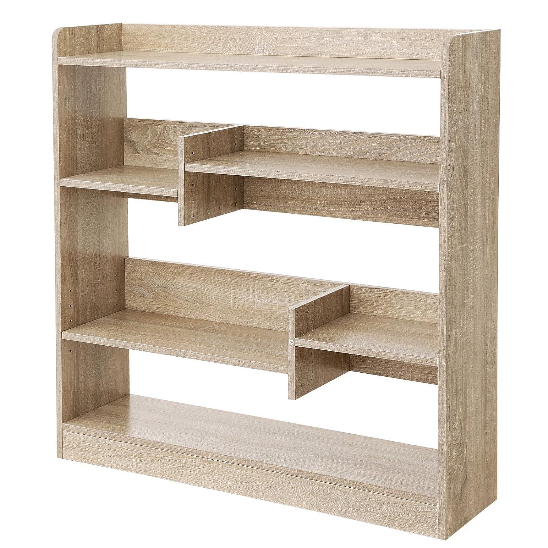 VASAGLE Bücherregal, Raumteiler Regal, Standregal aus Holz mit offenen Fächern, für Wohnzimmer, Schlafzimmer, Kinderzimmer und Büro, 90 x 91 x 24 cm (B x H x T), Eiche LBC53NL