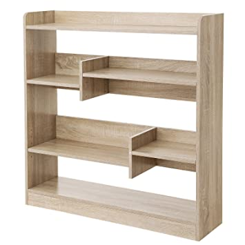 SONGMICS Bücherregal, Raumteiler Regal, Standregal aus Holz mit ...