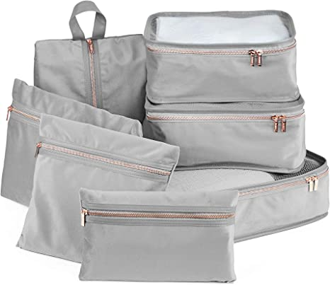 Grey Velvet /& Rose Gold Toiletries Bag Holiday Travel Accessories 7 Pieces Beautify Luggage Organisers Household Organiser