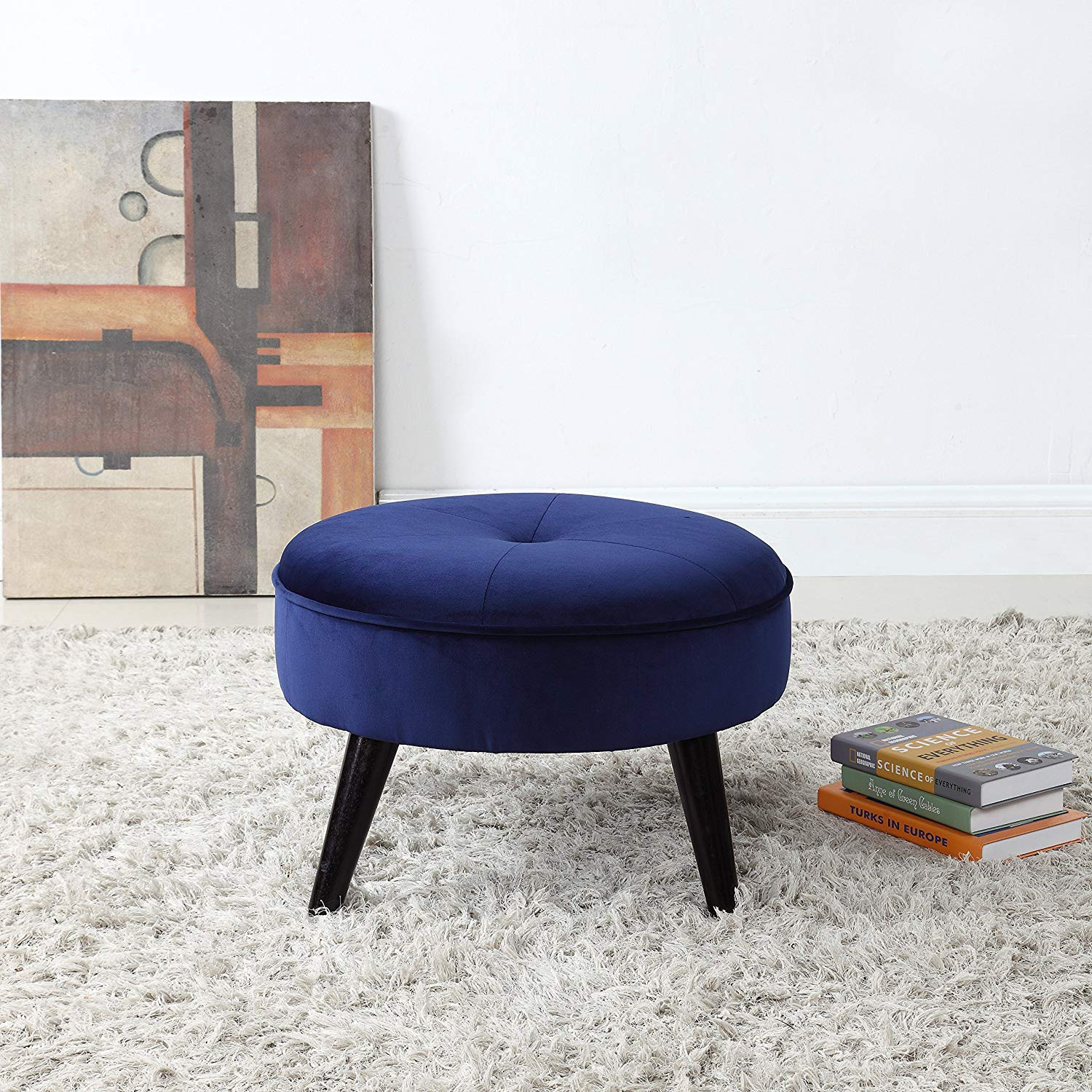 Divano Roma Furniture Classic Tufted Large Velvet Round Footrest/Footstool/Ottoman (Navy)