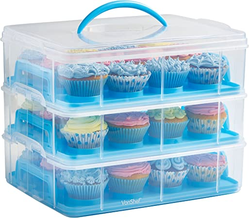 1 x Baby Blue Bouquet 7 Holder Cups Cupcake Box