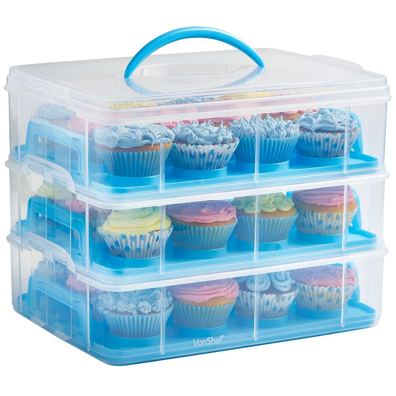 VonShef Présentoir Cupcakes 3 niveaux et conteneur de gâteaux - Stockez jusqu'à 36 Cupcakes ou 3 grands gâteaux