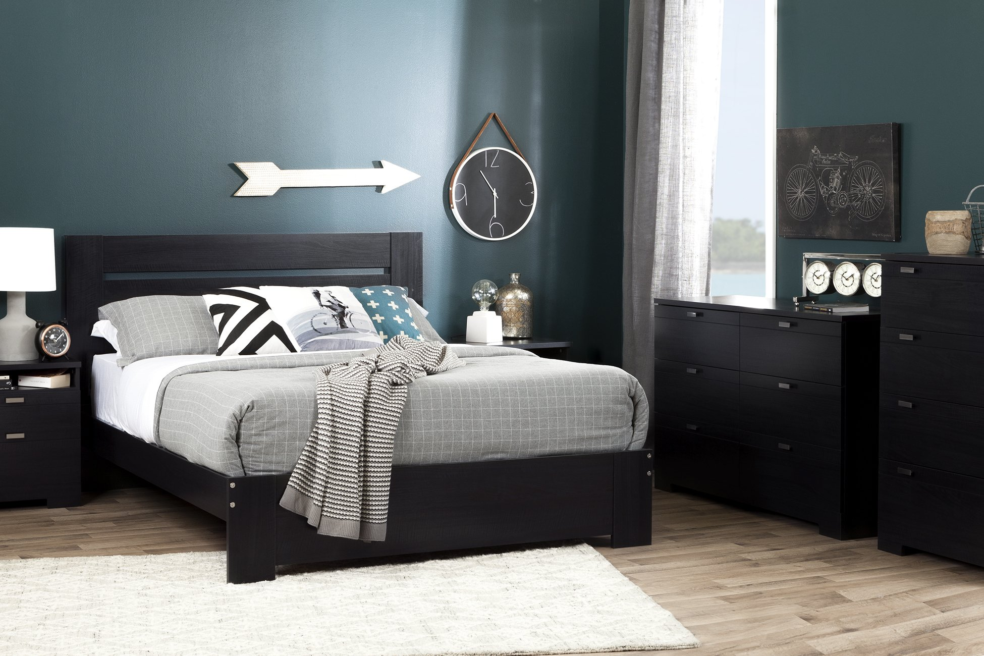 South Shore Reevo Full/Queen Headboard (54/60''), Black Onyx by South Shore (Image #3)