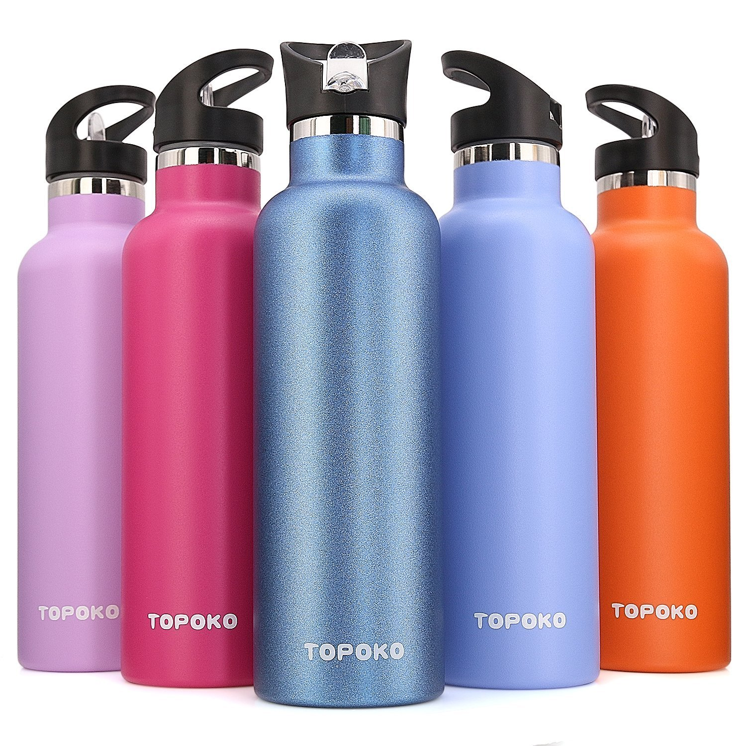 TOPOKO 25 Ounce Double Wall Stainless Steel Water Bottle Vacuum Insulation Bottle Leak Proof Bottle,BPA free With Straw With Handle Flip Top Spout Lid-Sky Blue