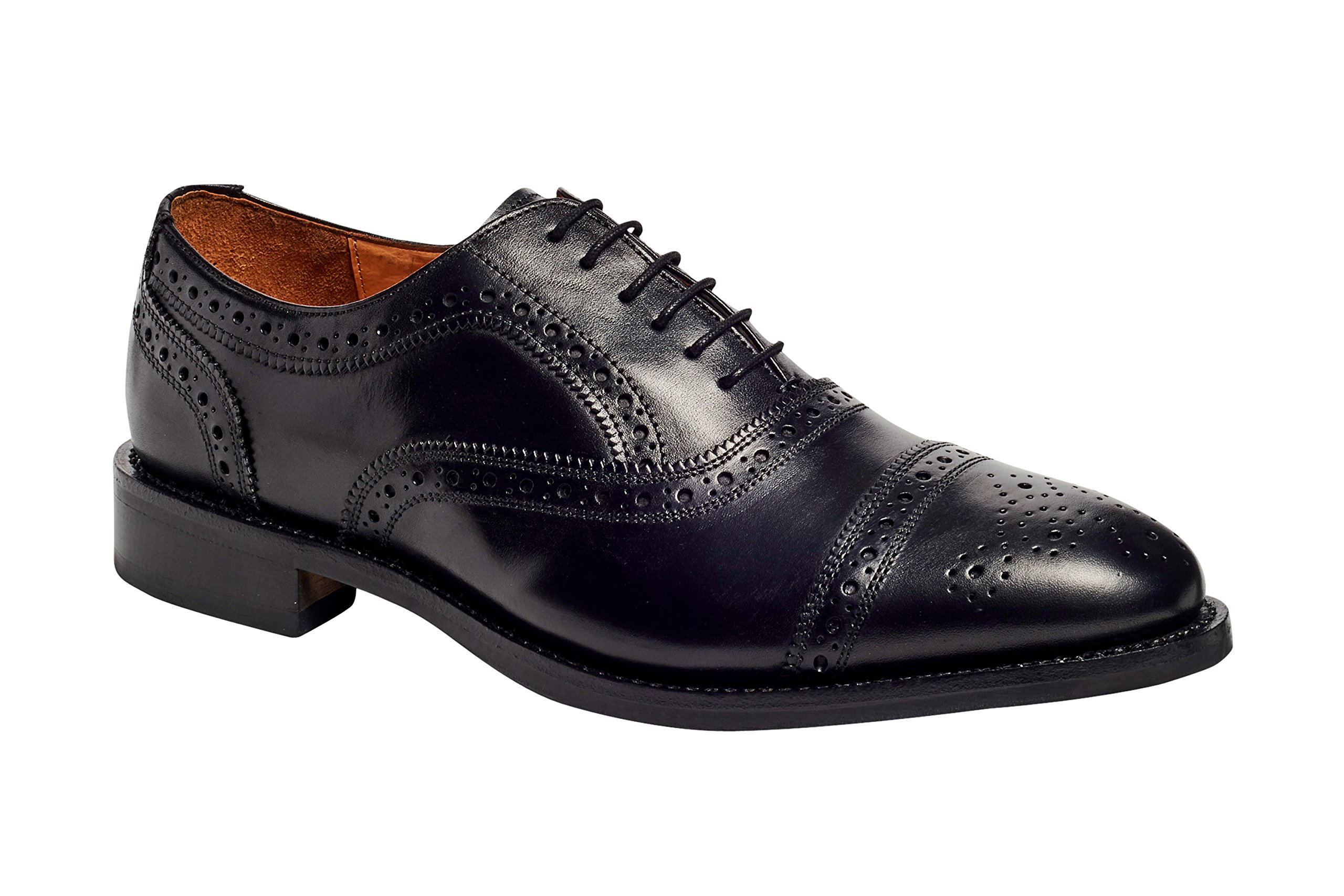 Anthony Veer Mens Ford Oxford Semi Brogue Leather Shoes in Goodyear Welted Construction (8 D, Black)