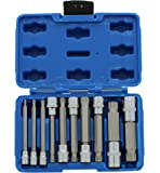"ABN XZN Triple Square Spline Bit Socket Set, 10 Piece Extra Long 4-Inch Kit ¼"" ⅜"" and ½"" Drive"