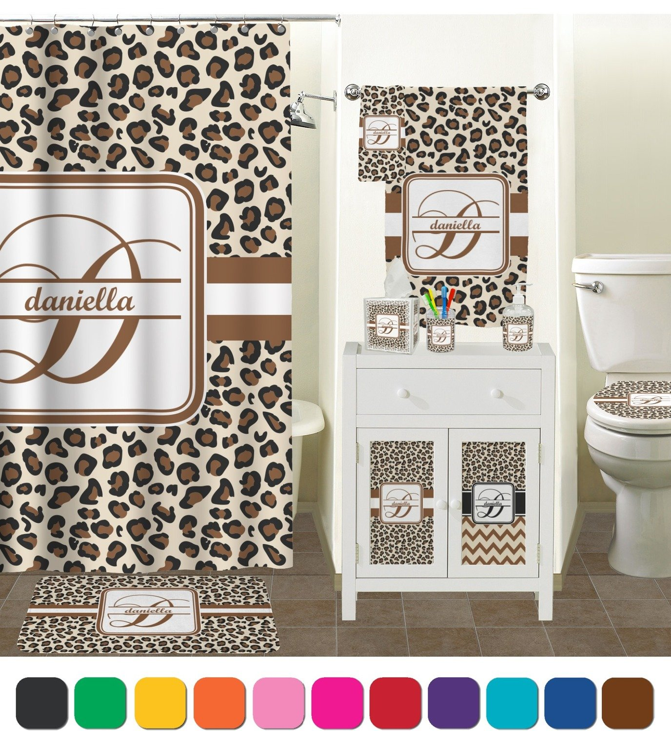 Ordinaire Amazon.com: Leopard Print Bathroom Accessories Set (Personalized): Home U0026  Kitchen