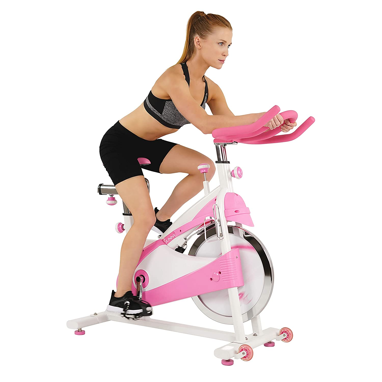 Sunny Health Fitness P8150 Belt Drive Premium Indoor Cycling Bike, Pink