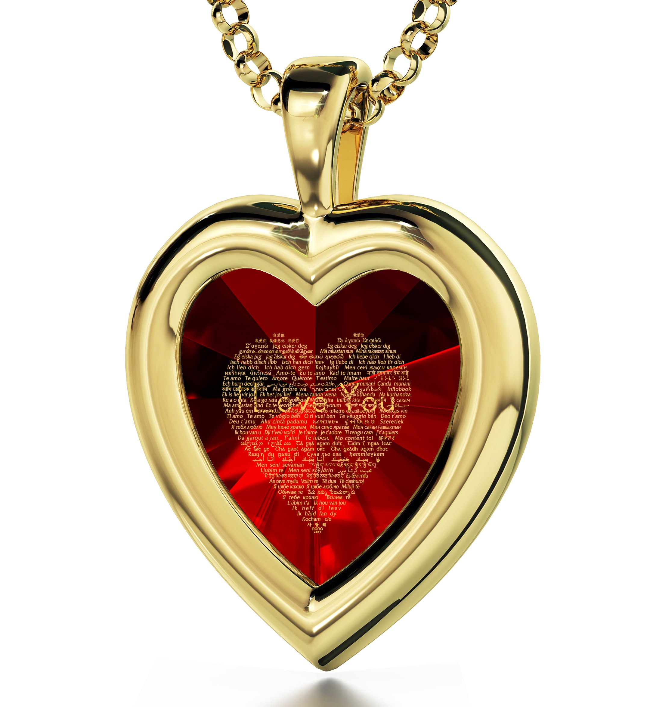Yellow Gold Plated Heart Pendant I Love You Necklace 120 Languages 24k Inscribed Red Cubic Zirconia, 18''